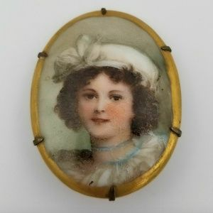 Jewelry - Large Porcelain Brooch Pin Vigee Le Brun Portrait
